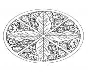 Coloriage free mandala to color leaves