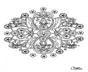 coloring adult flowers mandala  dessin à colorier
