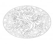Coloriage coloring mandala dragon 5