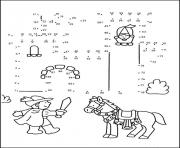 Coloriage point a relier maternelle chevalier et son cheval royaume