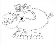 Coloriage point a relier maternelle elephant