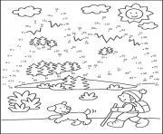 points a relier cp hiver marcher avec son chien dessin à colorier