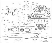 points a relier cp pirate et son bateau dessin à colorier