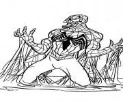 Venom est piégé par spider-man dessin à colorier
