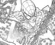 spider-man en pleine vitesse dessin à colorier