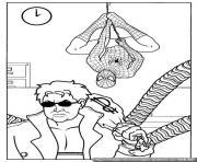 spider-man est derriere Docteur Octopus qui vol une banque dessin à colorier