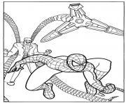 Docteur Octopus tente d'attraper Spider-Man dessin à colorier