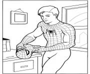 Coloriage Peter Parker en mode Spiderman