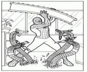 spiderman se defend contre les nombreuses mains robotiques de Docteur Octopus dessin à colorier