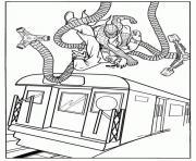 Bataille entre Docteur Octopus et Spider-man sur un train dessin à colorier