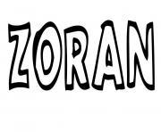 Zoran dessin à colorier