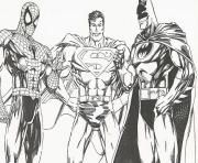 Coloriage batman spiderman superman