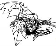 Coloriage batman et spiderman