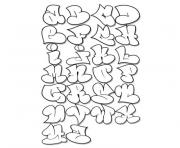 Coloriage alphabet facon graffitis