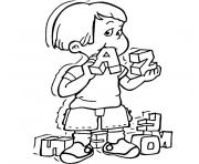 enfant croque lettres alphabet dessin à colorier