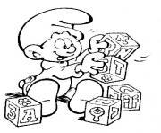 bebe schtroumpf avec blocs de jouets dessin à colorier