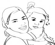 bebe maman dessin à colorier
