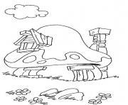 maison des schtroumpfs dessin à colorier