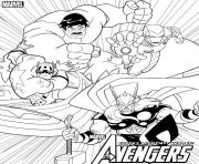 Coloriage avengers team hulk ironman captain america thor