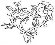 saint valentin coeur en forme de fleur dessin à colorier