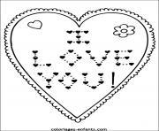 Coloriage coeur en forme de fleurs pour la journee de lamour dessin