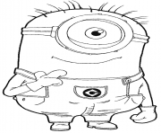 Coloriage dessin minion chevelu