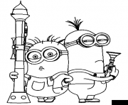 Coloriage dessin minion deux agents secrets