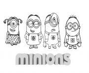 petite famille minion dessin à colorier