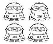 dessin quatre minions dessin à colorier
