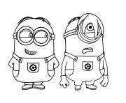 deux minions rigolent dessin à colorier