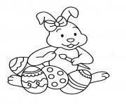 lapin de paques oeufs maternelle dessin à colorier