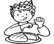enfant galette des rois dessin à colorier