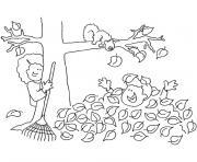 enfants jouent avec les feuilles tombees dessin à colorier