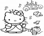 Coloriage hello kitty a la plage dessin