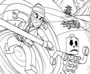 Coloriage dessin ninjago tournade voiture zombie