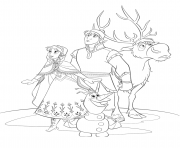 Coloriage reine neige disney cast dessin
