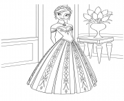 reine des neiges elsa disney belle robe dessin à colorier