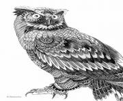 Coloriage difficile adulte hibou animaux