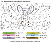 magique addition chauve-souris dessin à colorier