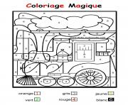 Coloriage magique train facile maternelle