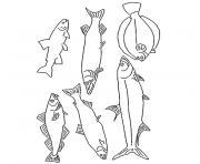 poisson truite dessin à colorier