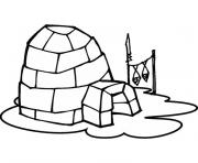 Coloriage igloo poissons seches