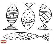 quatre poisson avril magnifique dessin à colorier