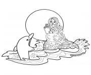 dauphin et sirene dessin à colorier