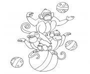 singe cirque dessin à colorier