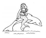 dauphin sirene dessin à colorier