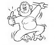 singe suspendu et sa banane dessin à colorier