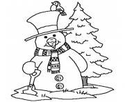 bonhomme de neige et oiseau dessin à colorier