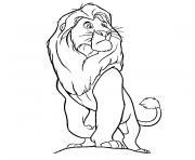 roi lion disney regarde de loin dessin à colorier