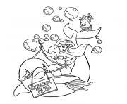 sirene dauphin dessin à colorier